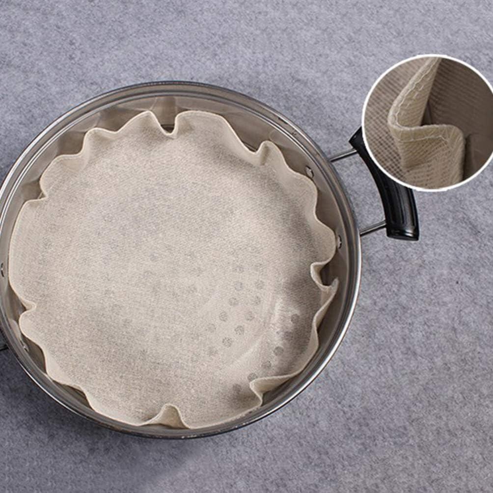 Cabilock 10 Pi/èces 28 Cm Coton Doublures de Vapeur R/éutilisables Coussins de Maille de Cuiseur /à Vapeur Boulettes Brioches Dim Sum Doublure en Tissu /à La Vapeur