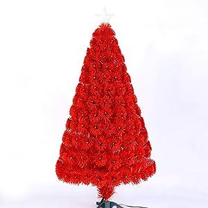 Petit Sapins De Noël avec Lumières, Rouge Fibre Optique Arbre De Noël - Parfait pour Maison Parti Office Indoor l'anniversaire