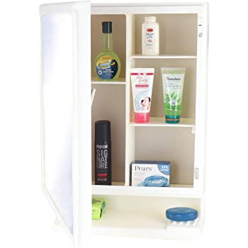 BRANCO Plastic New Look Bathroom Mirror Cabinet (Made in India, Ivory)