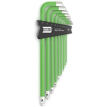 INBUS/® 70297 Inbusschl/üssel Set ColorGrip Gr/ün mit Kugelkopf 9tlg 1,5-10mm XL I Made in Germany