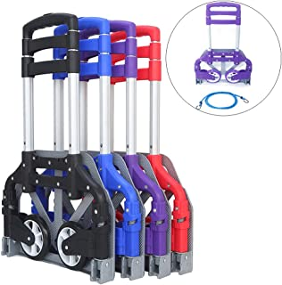 FCH Folding Hand Truck Aluminum Portable Folding Hand Cart 165lbs Capacity Handy Dolly Cart Ideal for Home, Auto, Office,Travel Use,Purple