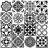 64pcs Adesivi per Piastrelle, Autoadesivi Impermeabile Adesive Marocchino retrò Stile per Piastrelle Trasferimenti Fai da Te Adesivi per Cucina Bagno Decorazioni (15 x 15 cm)