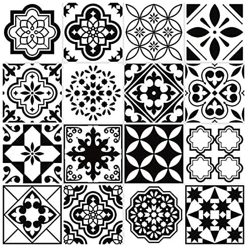32 Piezas Pegatinas de Azulejos, 20x20cm Clásico Retro Negro y Blanco Estilo Marroquí Autoadhesivo Azulejo Transferencias Pegatinas DIY Para Cocina Baño Decoración del Hogar