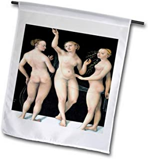 "3dRose fl_127974_1 The Three Graces by Lucas Cranach The Elder Garden Flag, 12 by 18"""