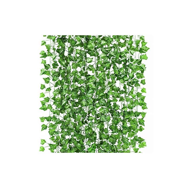 silk flower arrangements gpark 12 pack / each 82 inch, artificial ivy garland fake leaf plants vine , flowers hanging for wedding party home garden kitchen office outdoor greenery wall decor green