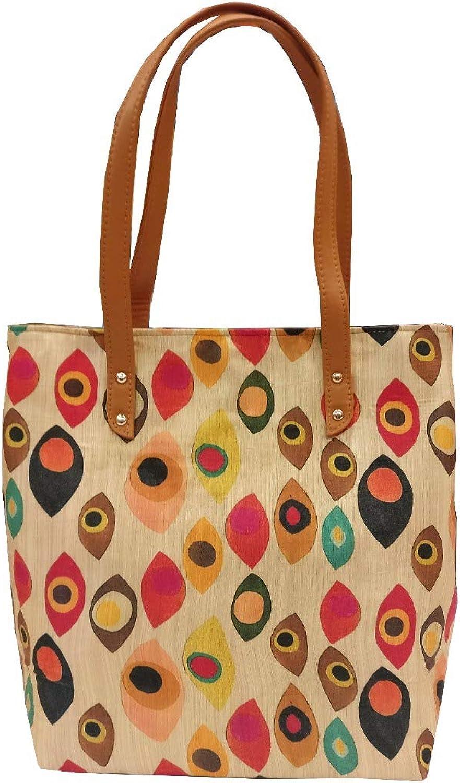 Beautiful Women Handbags Shoulder Bags Tote Silk Cotton Handbags Fashion Large Capacity Bags (Beige with Multi)