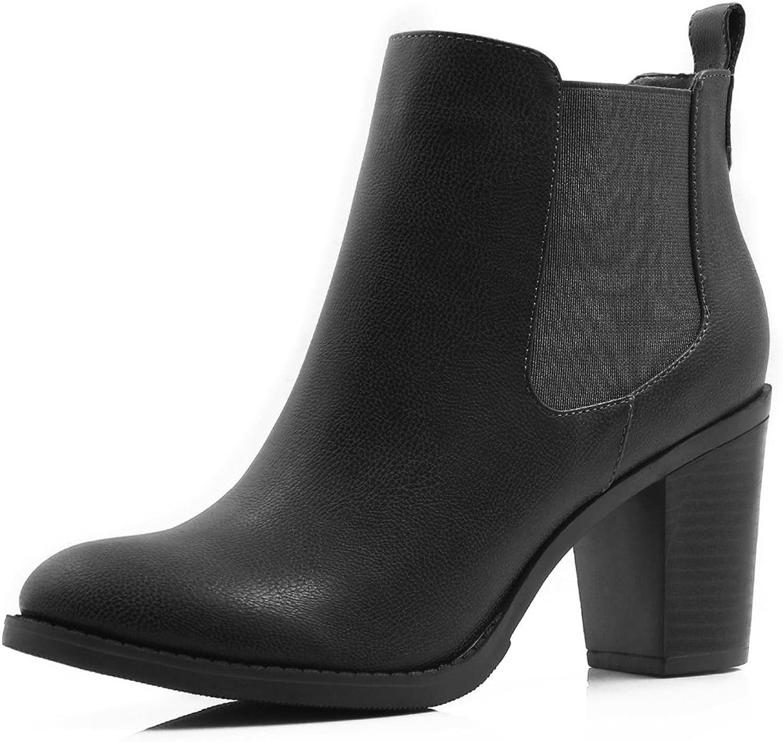 Allegra K Women's Stacked Heel Ankle Chelsea Boot