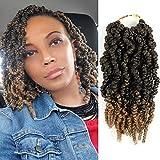 7 Packs Pre-twisted Spring Twist Hair Bomb Twist Crochet Hair 10 Inch Crochet Hair Braids Short Curly Passion Twists Braiding Hair Extensions15 Strands/Pack (T1B/27)