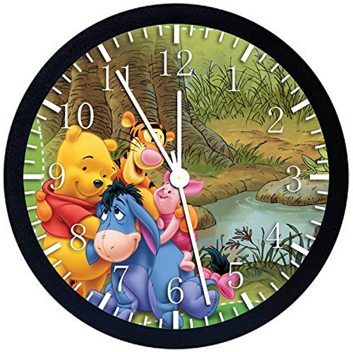 Winnie The Pooh Tigger Eeyore Wall Clock Large 12' Black Frame Clear Face Silent Non-Ticking Nice for Gift or Décor X02