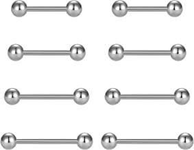 vcmart Nipple Rings Tongue Rings Stainless Steel Straight 14G Barbells Piercing Jewelry 12mm,14mm,16mm,18mm