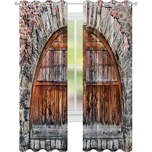 Cortinas opacas impresas, fotos de una muralla de ladrillo con puerta ovalada con materiales antiguos, 52 x 72 cm (ancho x largo), cortinas opacas para ventana, color gris y marrón