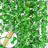MELLIEX 15 Stück Efeu Künstlich, Künstlicher Efeugirlande 98 FT 900 Efeu Blätter Lange Hängend Grüne kunstpflanze für Hochzeit Party Garten Wanddekoration (Grüne Blätter)