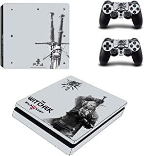 Playstation 4 Slim Skin Set - The Witcher 3: Wild Hunt HD Printing Vinyl Skin Cover Protective for PS4 Slim Console and 2 PS4 Controller by Mr Wonderful Skin