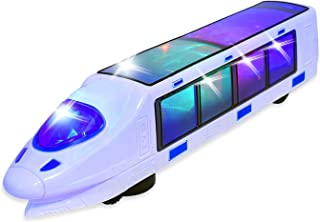 WEofferwhatYOUwant Electric Toy Train with Action Flashing Lights - Battery Powered. 3D Effect Bump and Go