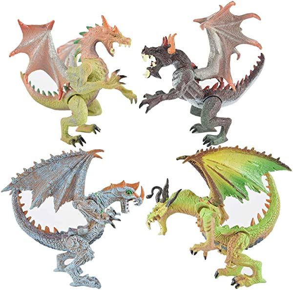 Rich Boxer 4 Pcs Premium Dragon Toy Realistic Looking Dragon Figure 4 7 5 1 Inch Mini Dragons Best Kids Toy Gift Party Favors Toy For Boys Kids