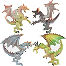 Rich Boxer 4 Pcs Premium Dragon Toy, Realistic Looking Dragon Figure,4.7-5.1 Inch Mini Dragons Best Kids Toy Gift Party Favors Toy for Boys Kids