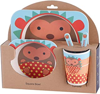 NoBrand DANDANdianzi Enfants Arts de la Table Set 5pcs bébé Cartoon Fibre de Bambou Bol Animal de Vaisselle Enfant en Bas ...