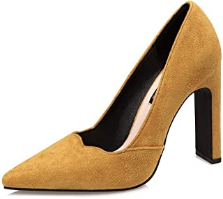 LUKEEXIN Ladies Sexy Pointed High Heels Thick with Single Shoes Suede Professional OL Shoes