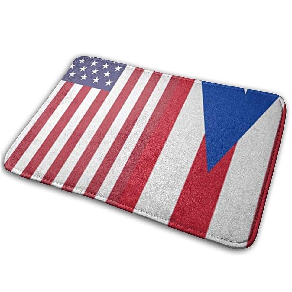 流行評価可能みぞれプエルトリコアメリカの国旗自然玄関マット玄関マットフロアマットラグ屋内/屋外/玄関/バスルームマットラバーノンスリップ23.6 X 15.8インチ