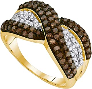 GemApex Brown Diamond X Ring Solid 10k Yellow Gold Fashion Band Chocolate Stripe Design Cluster Fancy 1.00 ctw