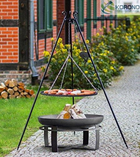 korono 2 en 1 Barbecue suspendu 180 cm avec chaînes Train & Rouille 70 cm & & Grill Coque 80 cm – Confortable Feu de Camp