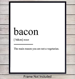Bacon Typography Art Print - Funny Wall Art Poster - Chic Modern Home Decor for Kitchen - Great Gift for Chefs, Cooks - 8x10 Photo- Unframed