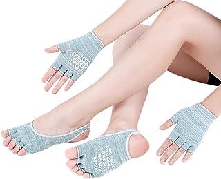XuBa, XuBa Calcetines de yoga para mujer + 1 par de guantes, traje deportivo, cinco dedos verde