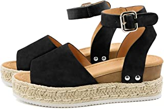 Women's Platform Sandals Espadrille Wedge Ankle Strap Studded Open Toe Sandals