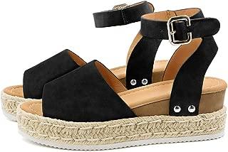 Women's Platform Sandals Espadrille Wedge Ankle Strap Studded Open Toe Sandals