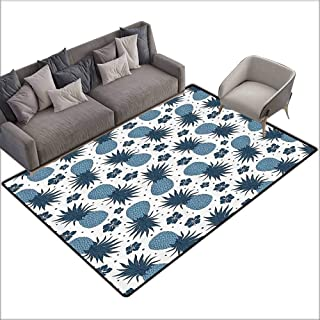 Corridor Rug Colorful Pineapple Decor Collection,Vintage Pineapple Pattern with Flowers Summer Exotic Food Pattern Artwork,Blue Dimgrey White 60