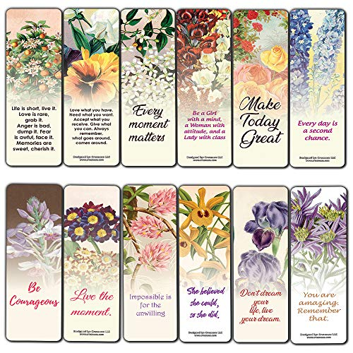 Bookmarks for Women Floral Inspirational (30-Pack) - Bookclub Gifts Journal Page Keeper - Positive Affirmations Sayings - Stocking Stuffers for Friends Sisters
