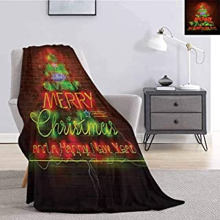 Tr.G Christmas Rugged or Durable Camping Blanket Neon Sign Have a Merry Xmas and Happy New Year Phrase Against The Wall Print Warm and Washable W70 x L70 Inch Burgundy Green