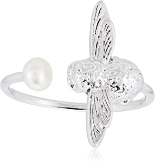 Olivia Burton Women Pearl Ring Silver OBJ16AMR10 Pearl Bee Adjustable
