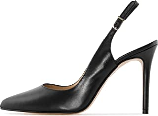 Soireelady Women's Slingback Court Shoes 10cm Closed Toe Ankle Strap High Heel Pumps