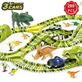 Dinosaur Track Cars, 289 Pcs Dinosaur Car Race Track Toy with 260 Flexible Train Track Playset, Includes 3 Cars, 8 Dinosaur and 2 Dinosaur Head Best Gift for Boys Girls Ages 3 4 5 6 7Years Old and Up