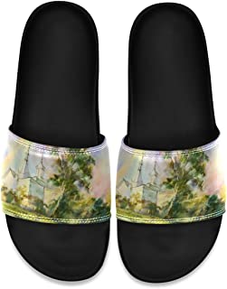 Landscape with Birch Castle Men's Leather Slide Sandals Summer House Slippers Non Slip Boys
