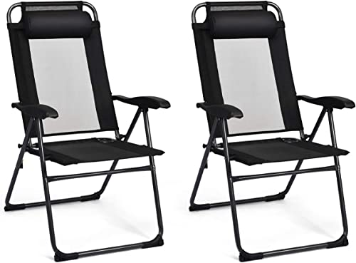 new arrival Giantex Set of 2 Patio Dining Chairs, Folding Lounge Chairs with 7 Level Adjustable Backrest, Headrest, 300 Lbs wholesale Capacity, Outdoor Portable Chairs with Metal high quality Frame sale