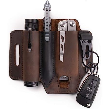 Gentlestache Multitool Sheath for Belt, Leather EDC Pocket Organizer for Men, Leatherman Sheath with Pen Holder, Key Fob, Flashlight Sheath, EDC Leather Pouch Dark Brown