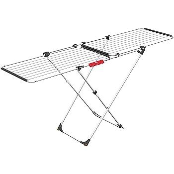 Tendedero extensible de acero y aluminio dimensiones abierto 110-187 x 61 x 94 cm Vileda Surprise color blanco soporte para art/ículos peque/ños espacio de tendido de 11 hasta 20 metros