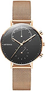 Artemis Wrist Wear Chrono Series Women's Watches | 36MM Ladies Watches Analog Minimalist Wrist Watch Chronograph Analog (Black face/Rose Gold mesh)
