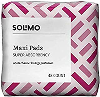 Amazon Brand - Solimo Thick Maxi Pads for Periods, Super Absorbency, Unscented, 48 count, 1 Pack