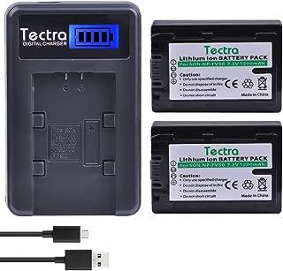 Tectra 2Pcs NP-FV50 NP FV50 Digital Camera Battery + LCD USB Charger for Sony HDR-SR68 DCR-SX85 DCR-SR20E DCR-SR21E HDR-CX190 HDR-CX130 HandyCam Camcorders