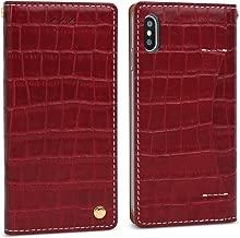 DesignSkin iPhone Xs Flip Folio Wallet Case: 100% Leather That is Genuine Cowhide w/Card Slot & Cash Pocket for Apple iPhoneX & XS - Burgundy