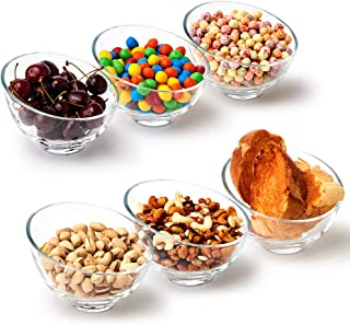 EZOWare Clear Glass Cereal Bowl Set, 13.5 oz Slant Cut Angled Stackable Bowls - Great for Serving Salad, Soup, Cereal, Snacks, Ice Cream, Rice, Desserts - Set of 6
