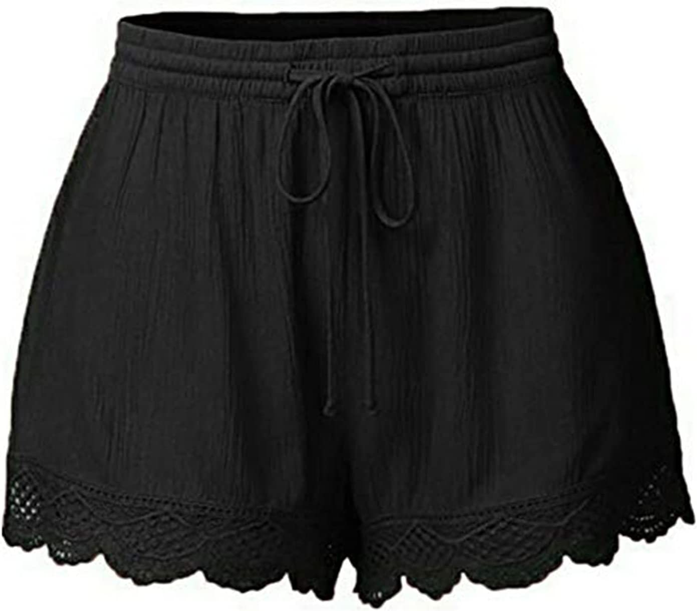Women's Discount mail order Lace Trim Drawstring Shorts S Waist Lounge NEW Loose Elastic