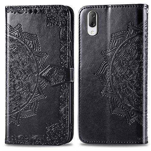 Bear Village Hülle für Sony Xperia L3, PU Lederhülle Handyhülle für Sony Xperia L3, Brieftasche Kratzfestes Magnet Handytasche mit Kartenfach, Schwarz