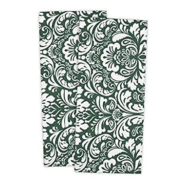 DII Cotton Damask Kitchen Dish Towels, 28 x 18  Set of 2, Low Lint Decorative Tea Towel for Everyday Cooking and Baking-Dark Green