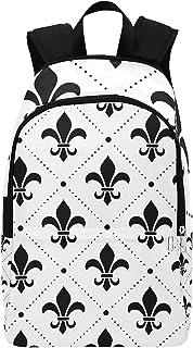 Schultaschen Jungen Französisch Damast Fleur De Lis Schwarz Patt Durable Water Resistant Klassische Rucksäcke Für Kinder W...