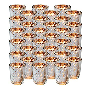 Royal Imports Silver Mercury Glass Votive Candle Holder Table Centerpiece Tealight Decoration for Elegant Dinner Party Wedding Holiday Set of 36  Unfilled
