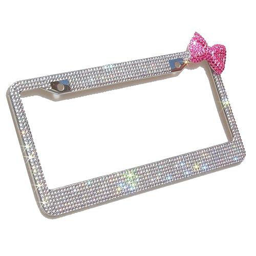 Hand-Made Custom License Plate Diamond Faux Sparkle